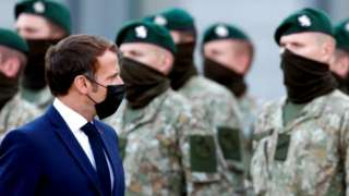 French President Emmanuel Macron visits French troops of the NATO enhanced Forward Presence battlegroup in Rukla, Lithuania