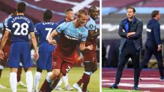 Frank Lampard ati awọn agbabọọlu Chelsea pẹlu West Ham
