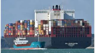 Container ship leaves Southampton port
