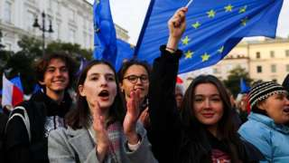 Thousands attend 'We're staying in EU' demonstration at the Main Square in Krakow, Poland