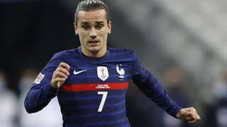 France's Antoine Griezmann in action during the UEFA Nations League soccer match between France and Sweden in Paris, 17 November 2020