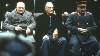 Winston Churchill, Franklin Roosevelt and Joseph Stalin