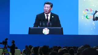 Chinese President Xi Jinping delivers his speech during the opening ceremony of the Conference on Dialogue of Asian Civilizations in Beijing in May 2019