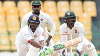Sri Lanka's Asela Gunaratne in action against Zimbabwe