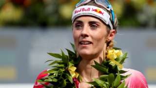British triathlete Lucy Charles-Barclay looks on after finishing second at the Ironman World Championships