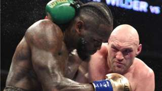 Tyson Fury in action against Deontay Wilder in the heavyweight fight in Los Angeles