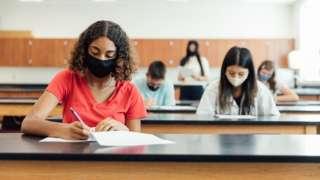 Pupils sitting tests wearing masks