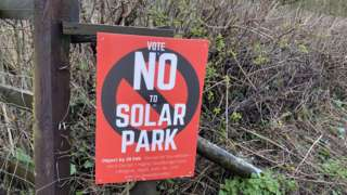 Poster objecting to solar park