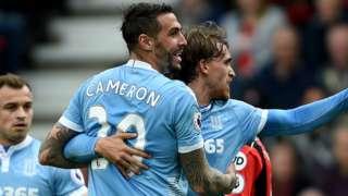 Stoke celebrate a goal at Bournemouth