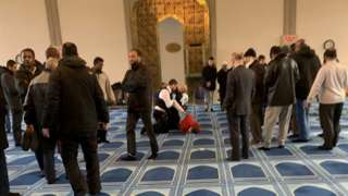 Police inside mosque