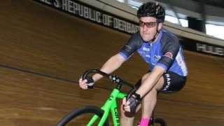 Dan Harvey riding a bicycle