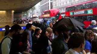 Large crowds leave Green Park station