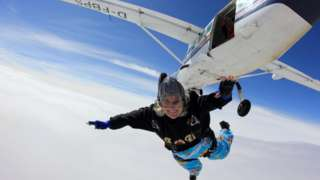 Dilys Price doing her Guinness World Record-setting jump