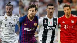 Gareth Bale, Lionel Messi, Cristiano Ronaldo and Robert Lewandowski