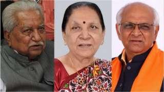 ગુજરાતના પૂર્વ મુખ્ય મંત્રી કેશુભાઈ પટેલ (ડાબે), આનંદીબહેન પટેલ (વચ્ચે) અને વર્તમાન મુખ્ય મંત્રી ભૂપેન્દ્ર પટેલ