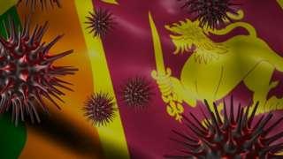A coronavirus spinning with Sri Lanka flag behind as epidemic outbreak infection in Sri Lanka