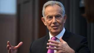 Tony Blair speaking in London