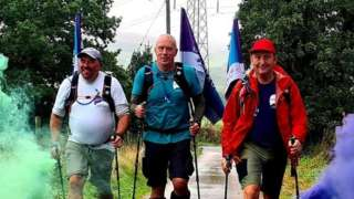 The three fathers walking: Andy Airey, Mike Palmer and Tom Owen