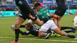 Max Malins' try for Saracens