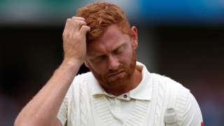 Jonny Bairstow bows his head after being dismissed