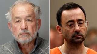 William Strampel mugshot and Larry Nassar in court
