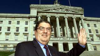 John Hume pictured at Stormont just before his last conference speech as SDLP leader