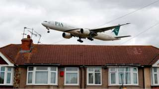 Pakistan Airlines flight comes into land at Heathrow