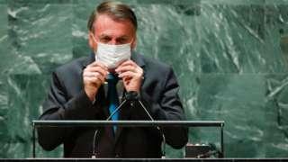 President Bolsonaro at UN lectern