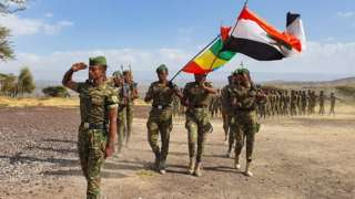 Members of the Oromia Special Police Force holding regional and national flags