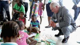 Prince Charles visiting hurricane survivors in Antigua