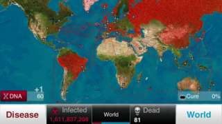 Tela do jogo Plague Inc. mostra mapa mundial com quadros como 'infectados' e 'mortos'