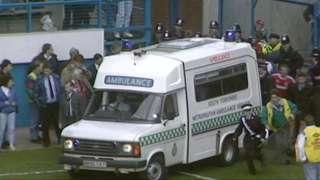 Ambulance drives onto pitch at Hillsborough