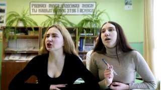 Girls during a Belarusian language lesson at a secondary school in the village of Osinovka