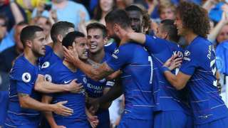 Chelsea's players celebrate scoring against Bournemouth