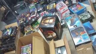 Boxes of Marvel memorabilia