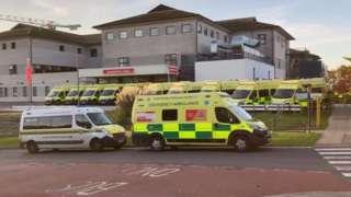 Ambulances parked outside Royal Cornwall Hospital