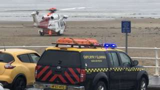 The Milford Haven Coastguard helicopter was dispatched to Aberavon Beach to help rescue the man