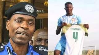 Inspector General of Police Mohammed Adamu (left), late Remo Stars footballer Tiyamiyu Kazeem (right)