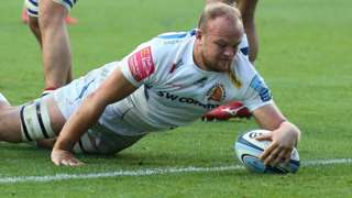 Tom Lawday scores a try for Exeter against Bristol