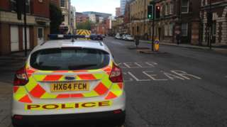 Police car at the scene on Canute Road
