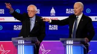 Democratic 2020 U.S. presidential candidates Senator Bernie Sanders and former Vice President Joe Biden have an exchange in the tenth Democratic 2020 presidential debate at the Gaillard Center in Charleston, South Carolina, U.S. February 25, 2020