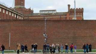 Banksy artwork on Reading Prison