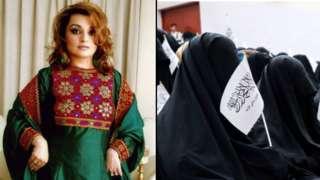 À esq., ativista que iniciou campanha contra o Talebã; à dir. mulheres protestam em ato pró-Talebã