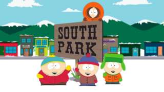 South Park cartoon characters (l-r) Eric Cartman, Stan March and Kenny McCormick.