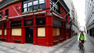 Belfast pub boarded up in May 2020