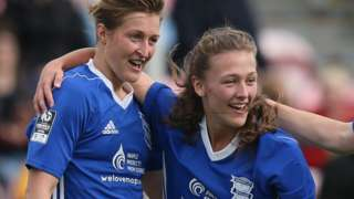 Ellen White (l) celebrates Charlie Wellings' goal