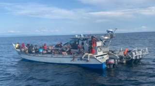 Picture of the Haitian migrants provided by the Colombian Navy