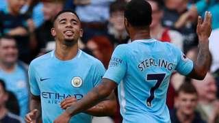Gabriel Jesus celebrates scoring for Man City