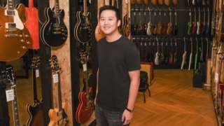 BandLab CEO Menf Ru Kuok in a Swee Lee music shop.