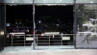 Shattered glass at Irbil airport, Iraq. Photo: 15 February 2021